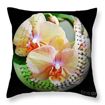 Rainbow Orchids Baseball Square Throw Pillow by Andee Design
