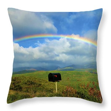 Rainbow Over A Mailbox Throw Pillow by Kicka Witte