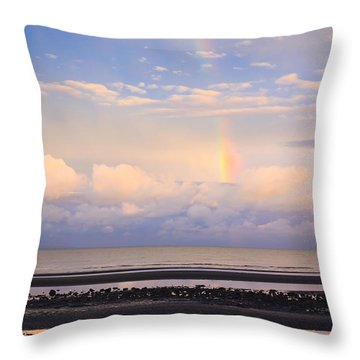 Throw Pillow featuring the photograph Rainbow Over Bramble Bay by Peta Thames