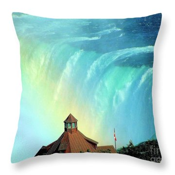 Throw Pillow featuring the photograph Rainbow Over Horseshoe Falls by Janette Boyd