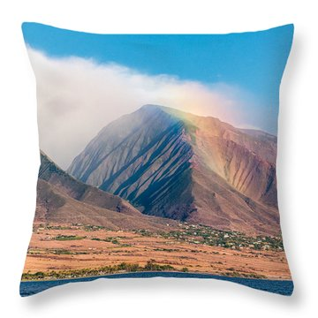 Rainbow Over Maui Mountains   Throw Pillow
