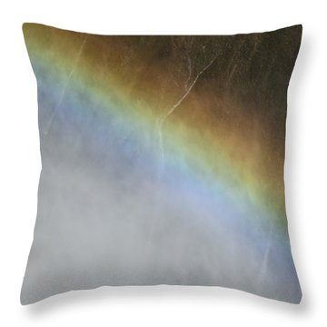 Throw Pillow featuring the photograph Rainbow Over The Falls by Laurel Powell