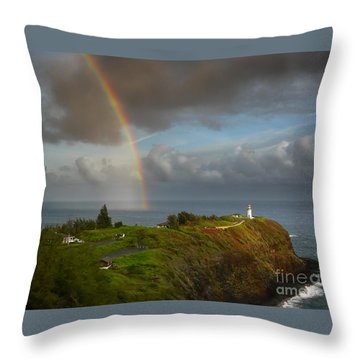 Rainbow Over Kilauea Lighthouse On Kauai Throw Pillow