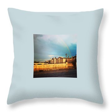 Rainbow Over The Seine. Throw Pillow