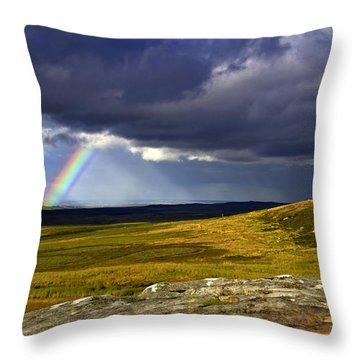 Rainbow Over Yorkshire Moors - Tann Hill Throw Pillow