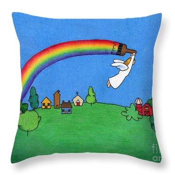 Rainbow Painter Throw Pillow by Sarah Batalka