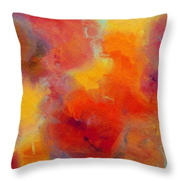 Rainbow Passion - Abstract - Digital Painting Throw Pillow by Andee Design