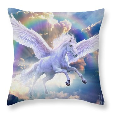 Rainbow Pegasus Throw Pillow
