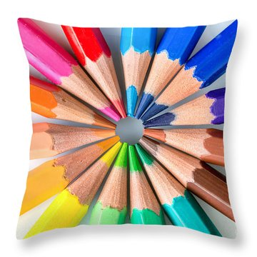 Rainbow Pencils Throw Pillow