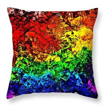 Throw Pillow featuring the digital art Rainbow Pieces by Bartz Johnson