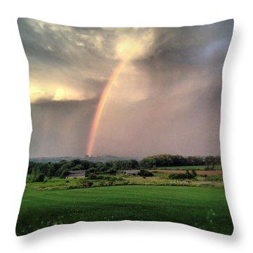 Rainbow Poured Down Throw Pillow
