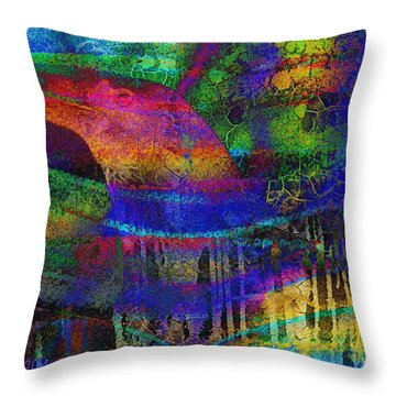 Rainbow Raven Throw Pillow