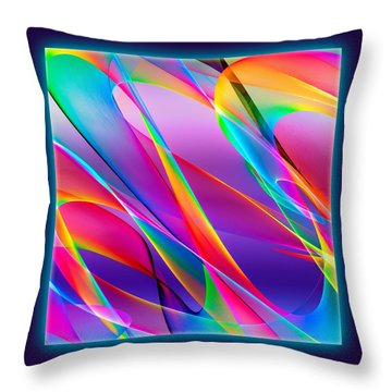 Rainbow Ribbons Throw Pillow