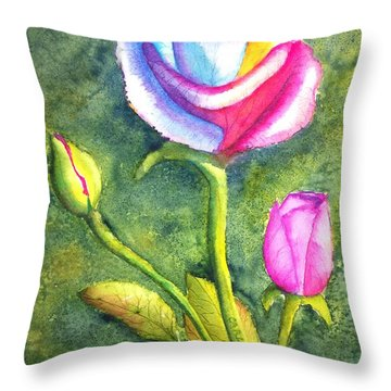 Rainbow Rose And Buds Throw Pillow