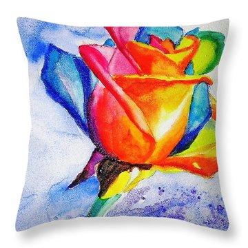 Rainbow Rose Throw Pillow