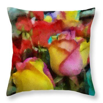 Rainbow Roses Watercolor Digital Painting Throw Pillow by Eti Reid