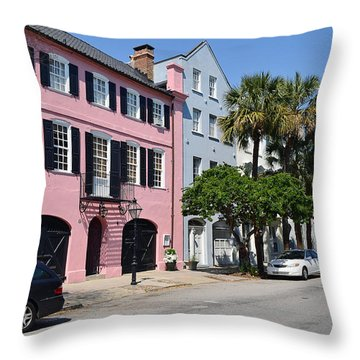Rainbow Row  Throw Pillow