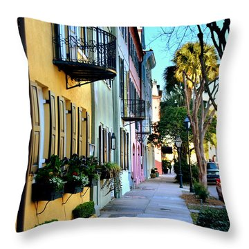 Rainbow Row Hdr Throw Pillow