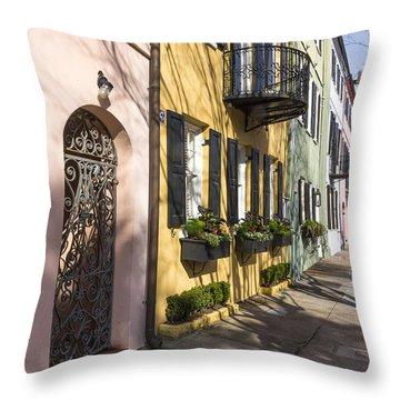 Rainbow Row Throw Pillow
