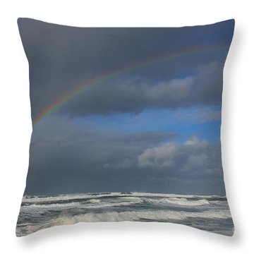 Throw Pillow featuring the photograph Rainbow Sea by Jeanette French