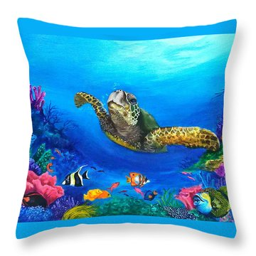 Rainbow Reef Throw Pillow