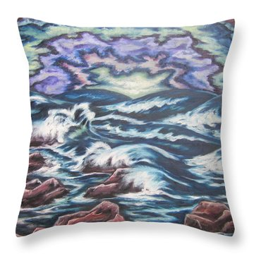 Throw Pillow featuring the painting Rainbow Skies 2 by Cheryl Pettigrew