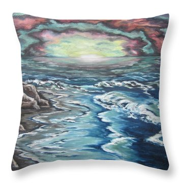 Throw Pillow featuring the painting Rainbow Skies by Cheryl Pettigrew