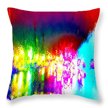 Throw Pillow featuring the photograph Rainbow Splash Abstract by Marianne Dow