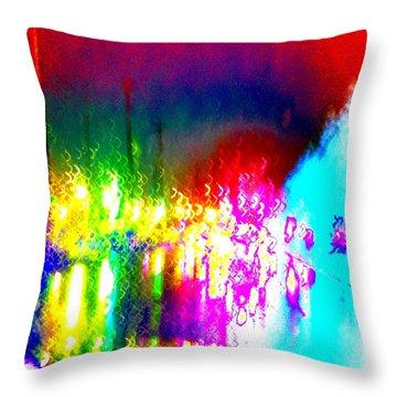 Rainbow Splash Abstract Throw Pillow