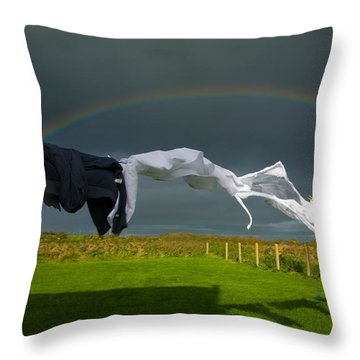 Rainbow, Stormy Sky And Clothes Line Throw Pillow