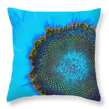 Rainbow Sunflower Throw Pillow by Phyllis Denton