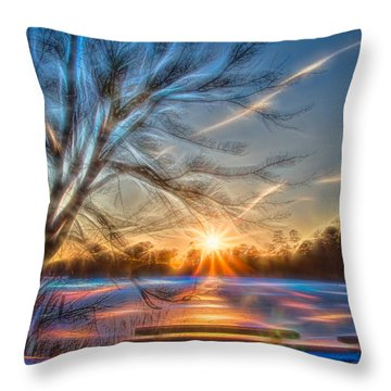 Rainbow Sunset On Snow Covered Lake Throw Pillow