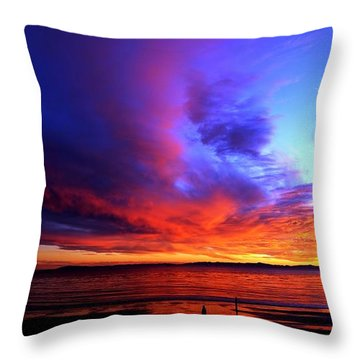 Throw Pillow featuring the photograph Rainbow Sunset by Sue Halstenberg