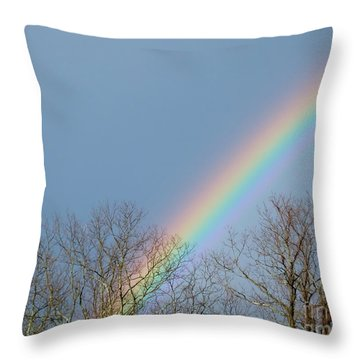 Throw Pillow featuring the photograph Rainbow Through The Tree Tops by Kristen Fox