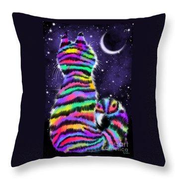 Rainbow Tiger Cat Throw Pillow