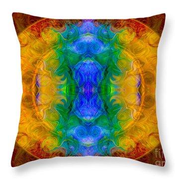 A Rainbow Of Chaos Abstract Mandala Artwork By Omaste Witkowski Throw Pillow by Omaste Witkowski