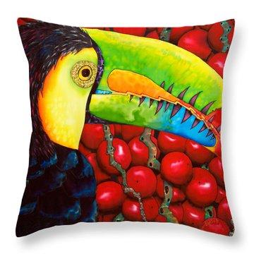 Rainbow Toucan Throw Pillow by Daniel Jean-Baptiste
