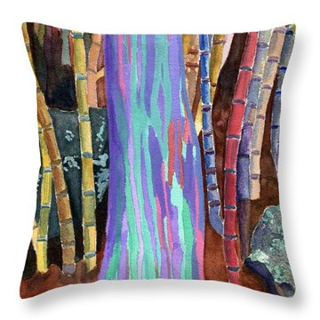 Throw Pillow featuring the painting Rainbow Tree by Lynne Reichhart