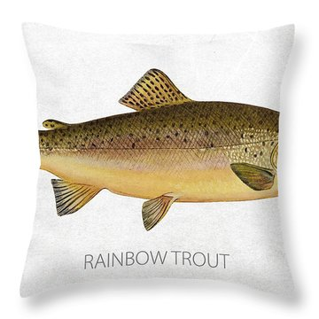 Rainbow Trout Throw Pillow by Aged Pixel