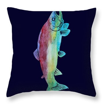 Rainbow Trout Throw Pillow by Jenny Armitage
