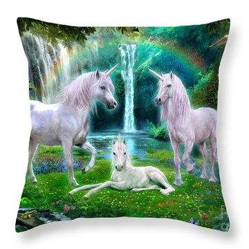 Rainbow Unicorn Family Throw Pillow