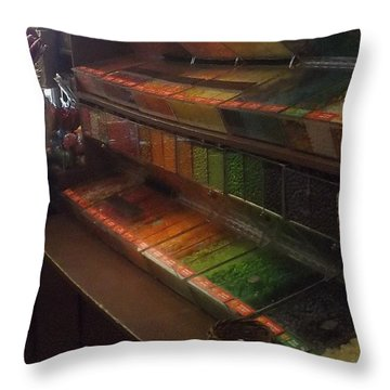 Rainbow Vintage Jelly Bean Shop Throw Pillow