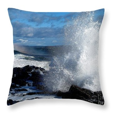 Rainbow Wave Throw Pillow by Donnie Freeman