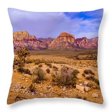 Rainbow Wilderness Panorama At Red Rock Canyon Before Sunrise - Las Vegas Nevada Throw Pillow