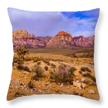 Rainbow Wilderness Panorama At Red Rock Canyon Before Sunrise - Las Vegas Nevada Throw Pillow