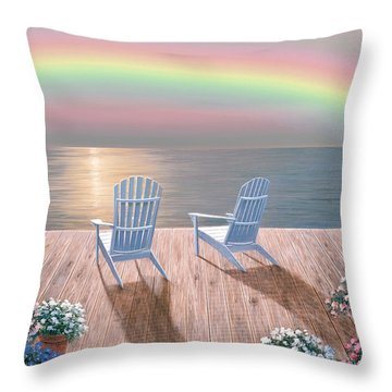 Rainbow Wishes Throw Pillow