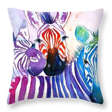 Rainbow Zebra's Throw Pillow