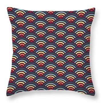 Rainbowaves Pattern Dark Throw Pillow