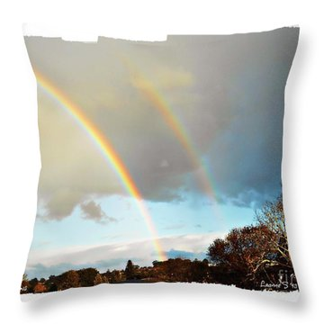 Throw Pillow featuring the photograph Rainbows by Leanne Seymour