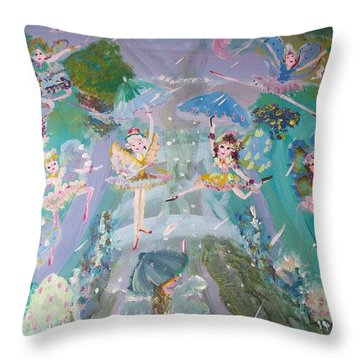 Raindrop Fairies Throw Pillow